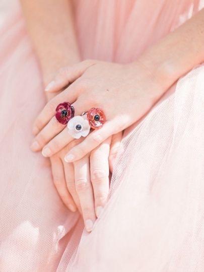 Artisanart Bague Fleur Rouge Vif