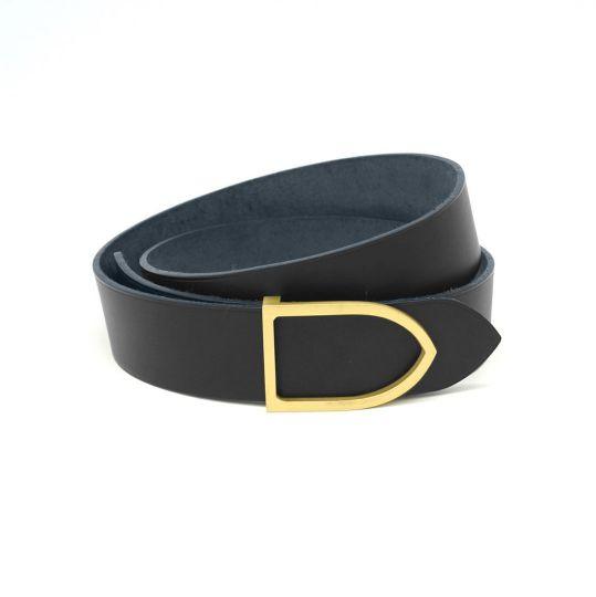 1a9eb7b9f9a ceinture cuir noir boucle laiton dorée faite main