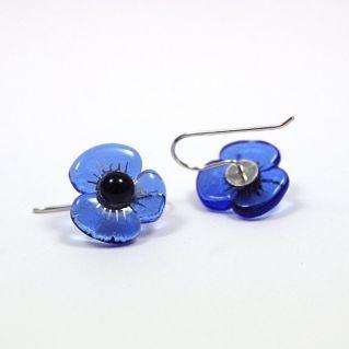 Boucles d'oreilles Petites Fleurs bleu ciel