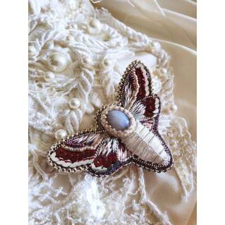 Broche Papillon de Nuit Agate
