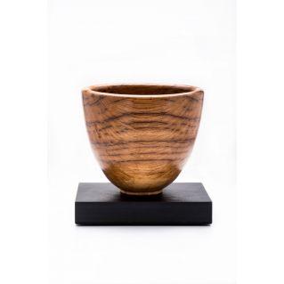 Vase décoratif en bois tourné, chêne tigré