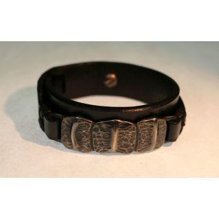 Bracelet de force en cuir pour homme petites écailles en Argent