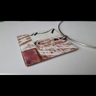 Tour de cou , pendentif émaillé: Empreintes  calligraphiées ocres et roses