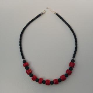 Collier noir et rouge Koliero