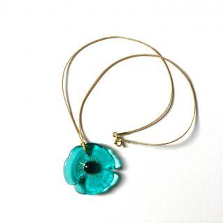 Collier COQUELICOT bleu-vert
