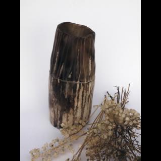 Vase droit enfumé – écru