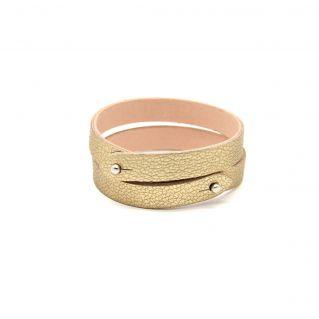 bracelet deux tours cuir agneau bleu