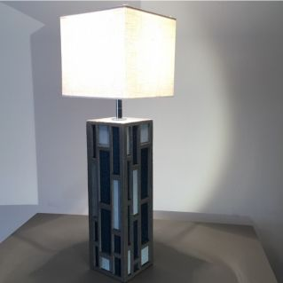 Lampe «Senlisse cuir» - PM - carrée bleu