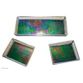 Ensemble 3 plateaux vitrail Tiffany bleu cobalt