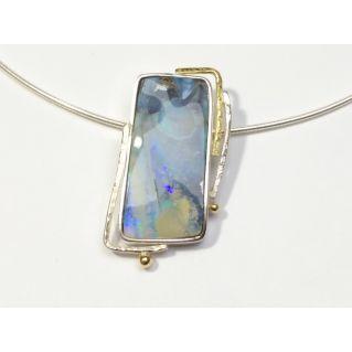 Collier en argent et opale d'Australie