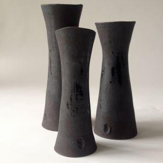 Soliforêt de 3 soliflores en grès noir