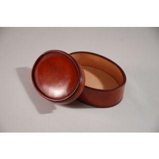 Boîte ovale en cuir