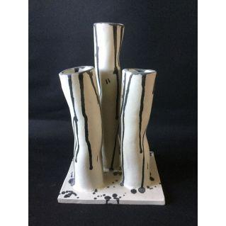 Vase-sculpture 3 tubes en grès