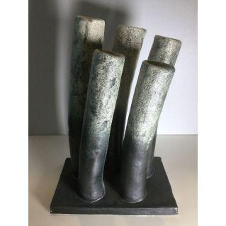 Vase-sculpture 5 tubes en grès