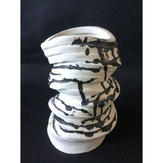 Vase-sculpture anneaux moyen en grès