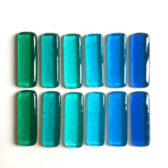 Coffret de 12 porte-couteaux bleu vert