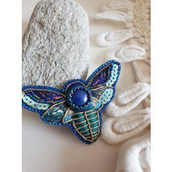 Broche Papillon de Nuit Lapis Lazuli