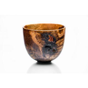 Vase décoratif : bois tourné, chêne flamboyant