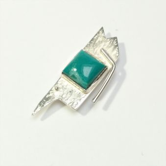 Broche argent - turquoise