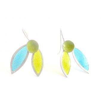 """Boucles d'oreilles """"Flor"""", feuilles bleues"""