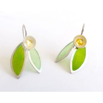 """Boucles d'oreilles """"Flor"""", feuilles vertes"""