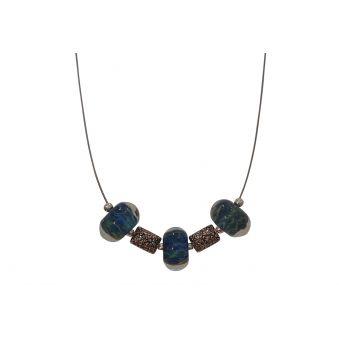collier perles de verre filé bleues