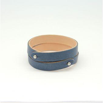 bracelet deux tours cuir agneau beige