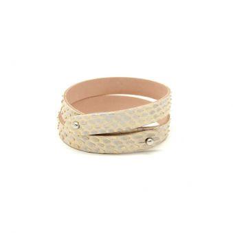 bracelet deux tours cuir de chèvre doré fait main