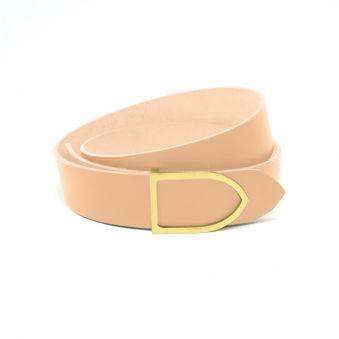 ceinture cuir teinte marine boucle laiton doré faite main
