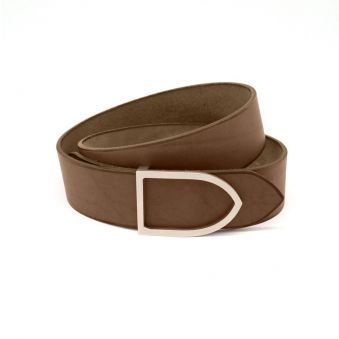 ceinture cuir capuccino boucle noire faite main