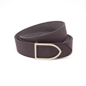 ceinture faite main cuir chocolat boucle laiton doré