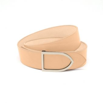 ceinture cuir teinte naturel boucle laiton doré
