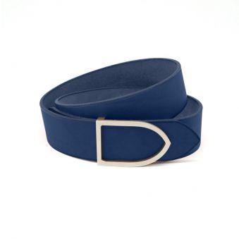 ceinture cuir faite main couleur océan boucle dorée
