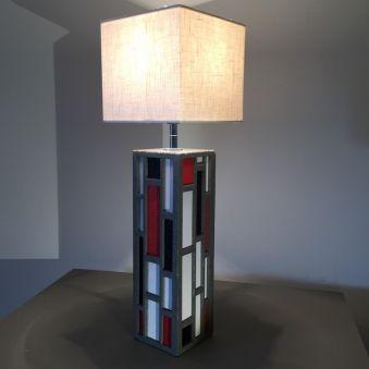Lampe «Senlisse cuir» - PM - carrée