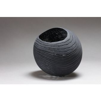 "Sculpture dentelle de bois ""Grand bol noir"""