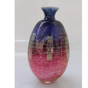 Vase craquelé bleu et rose