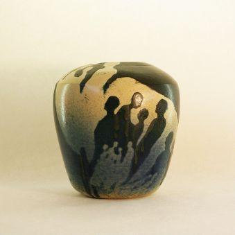 Vase foule noir, bleu et grès blanc 2016