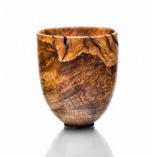 Vase décoratif en bois tourné, chêne tourbillonnant
