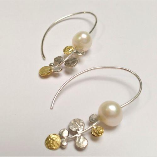 Boucles d'oreilles en argent et or