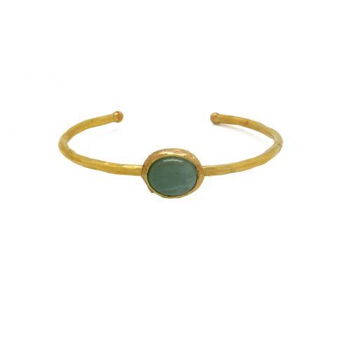 Bracelet aigue-marine et laiton