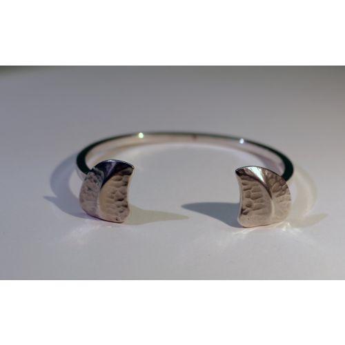 Bracelet  jonc  2 écailles Argent