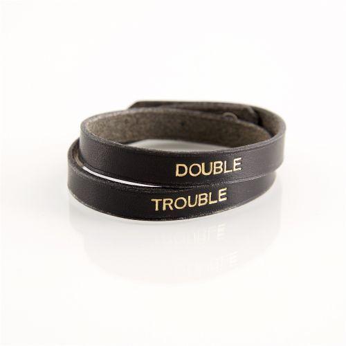 Bracelet en cuir noir et dorure « Double Trouble »