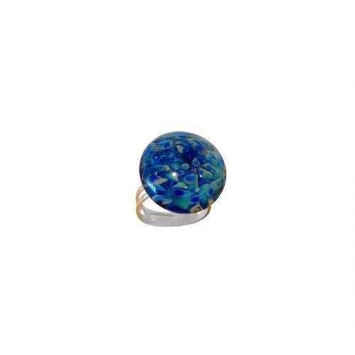 bracelet perles verre filé bleu