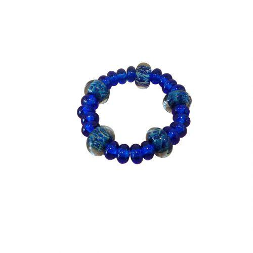 collier ras du cou perles verre filé bleu