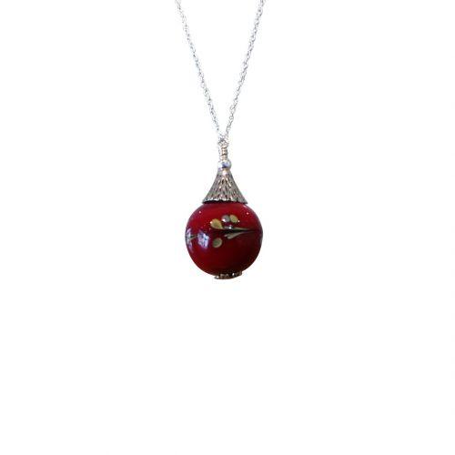 boucles d'oreilles perles verre filé rouge