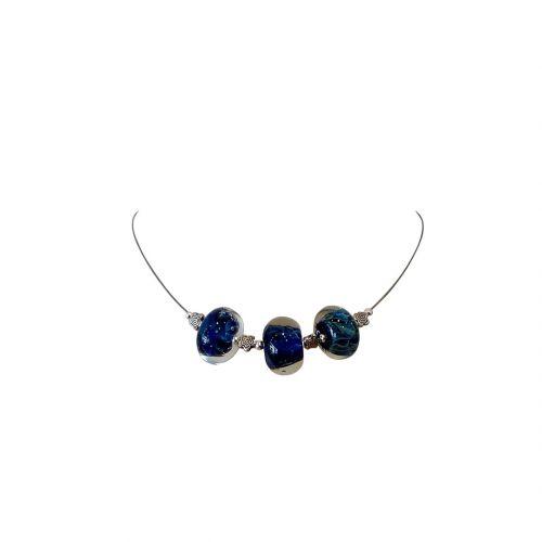 collier perles verre filé bleu