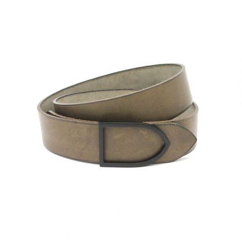 ceinture cuir faite main couleur gris boucle argentée