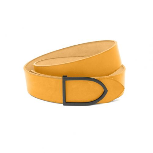 ceinture cuir faite main teinte ocre boucle laiton