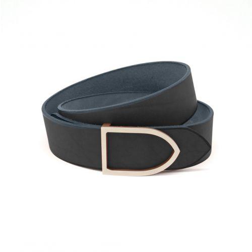 ceinture cuir noir boucle laiton dorée faite main