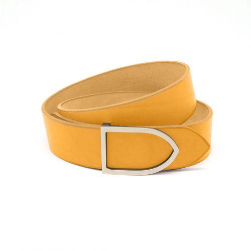 ceinture cuir faite main teinte ocre boucle noire